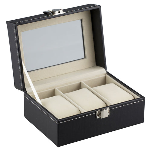 Felji 3 Slot Watch Box Black Leather Display Glass Top Jewelry Case Organizer Unisex