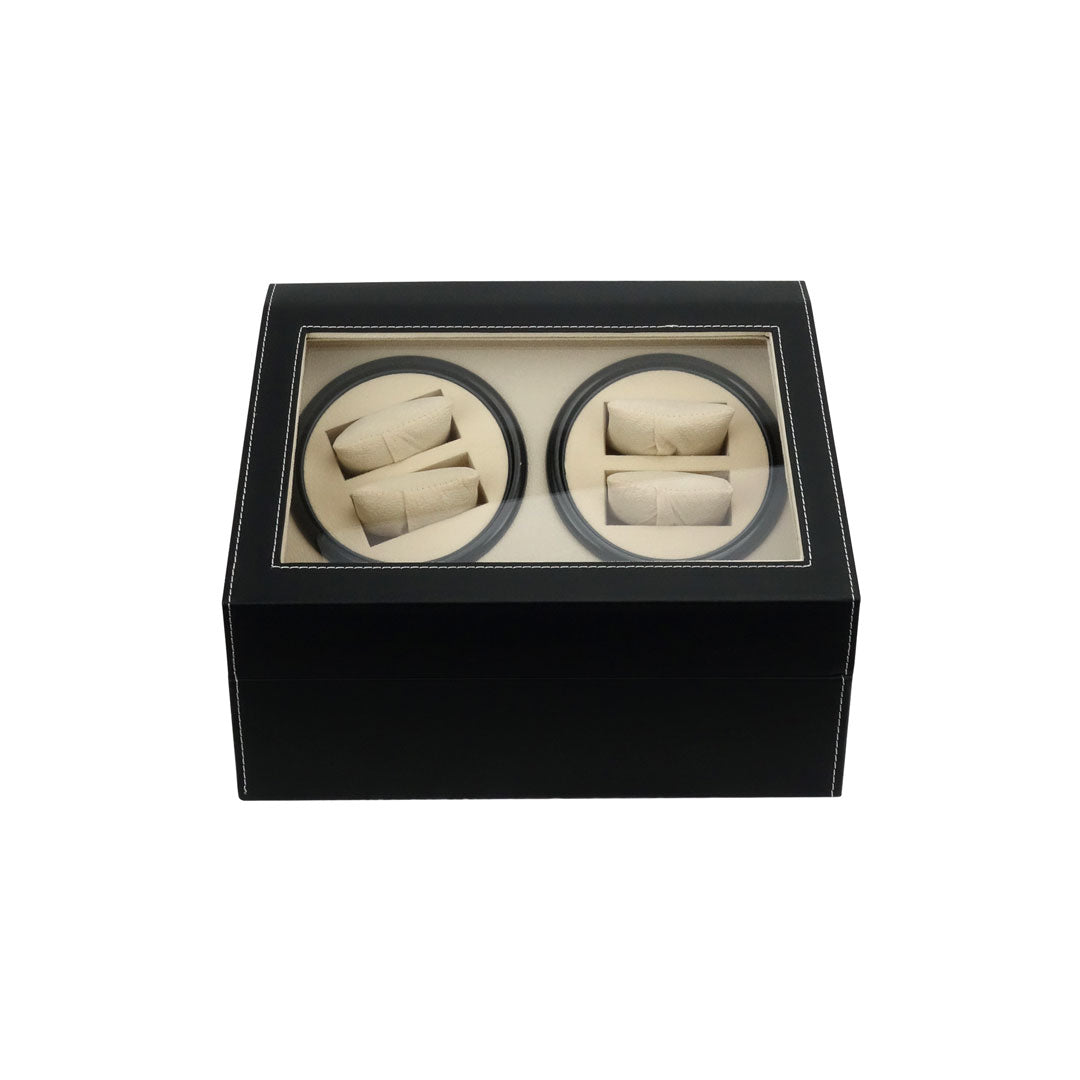 Felji 4+6 Automatic Rotation Leather Wood Watch Winder Storage Display Case Box Black
