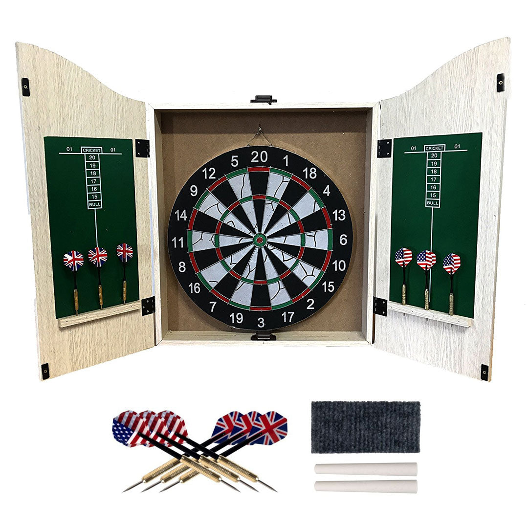 Felji Game Room Dartboard Cabinet Set with 6 28-Gram Tungsten Darts