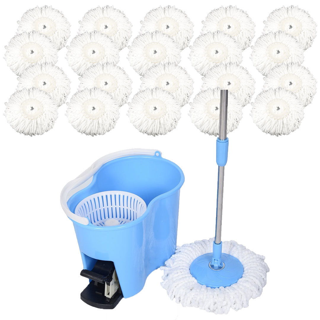 Felji Microfiber Spin Mop Easy Floor Mop with Bucket and 20 Mop Heads - 360 Rotating Head, Blue