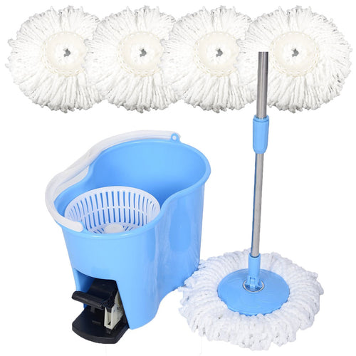 Felji Microfiber Spin Mop Easy Floor Mop with Bucket and 4 Mop Heads - 360 Rotating Head, Blue