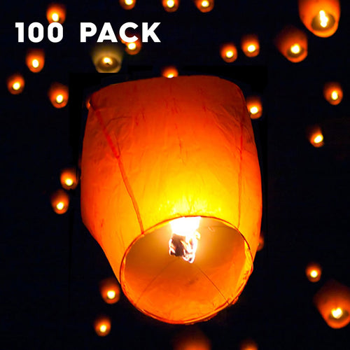 Felji 100 Pack White Paper Chinese Lanterns Sky Fly Candle Lamp for Wish Party Wedding