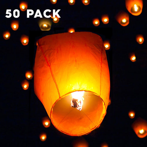Felji 50 Pack White Paper Chinese Lanterns Sky Fly Candle Lamp for Wish Party Wedding