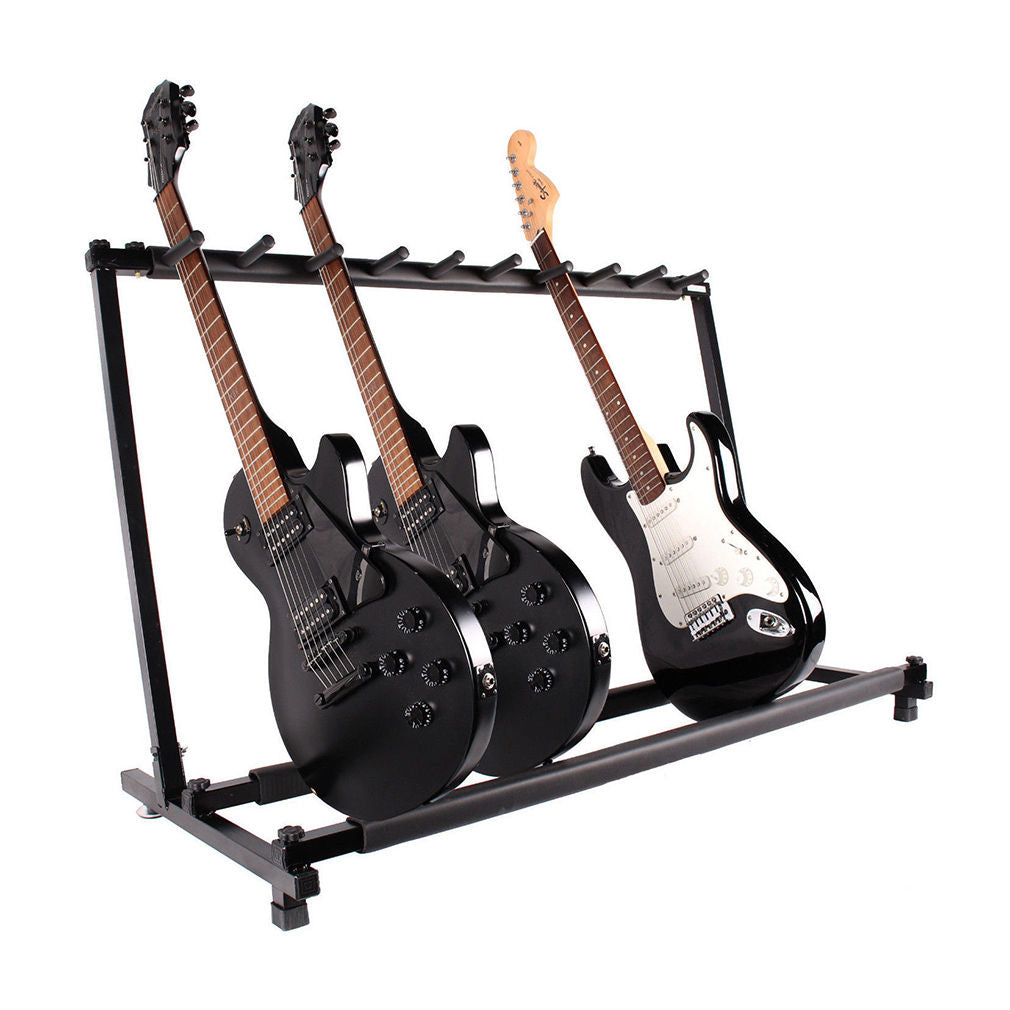 Guitar 9 Guitar Stand Holder Folding Stand Rack Band Stage Bass Acoustic Guitar