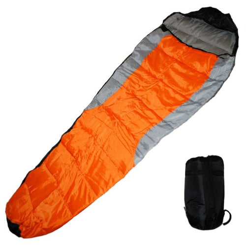 Felji Mummy Sleeping Bag with Carrying Case, Orange/Grey/Black