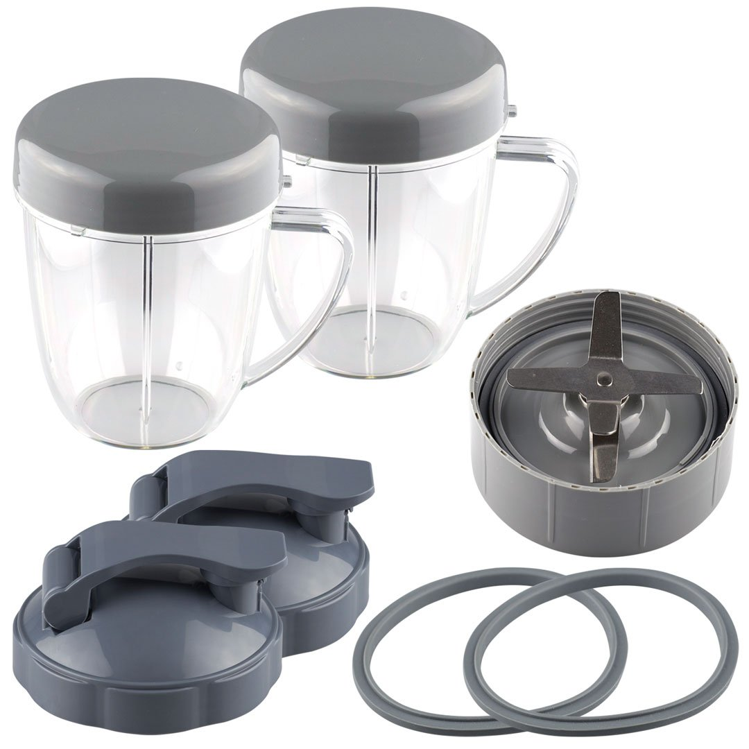 NutriBullet Extractor Blade + 2 18 oz Handled Short Cups with Re-Sealable Lids, Flip To-Go Lids and 2 Gaskets