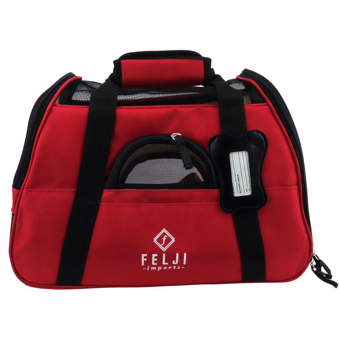 Felji Small Pet Carrier Soft Sided Cat Dog Comfort Travel Tote Shoulder Bag Red