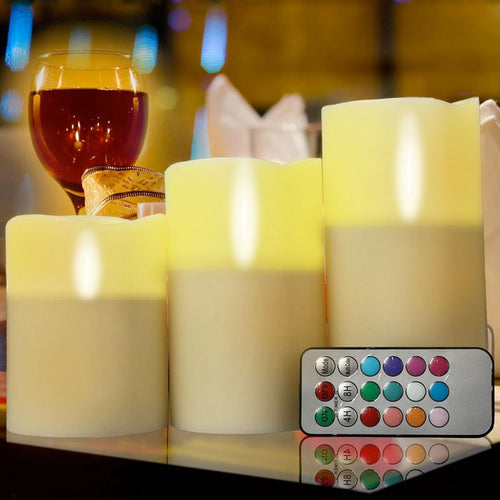 "Candles Flameless LED Tea Light Ivory Color Remote Club Party 3pcs (4 5"" 6"")"""