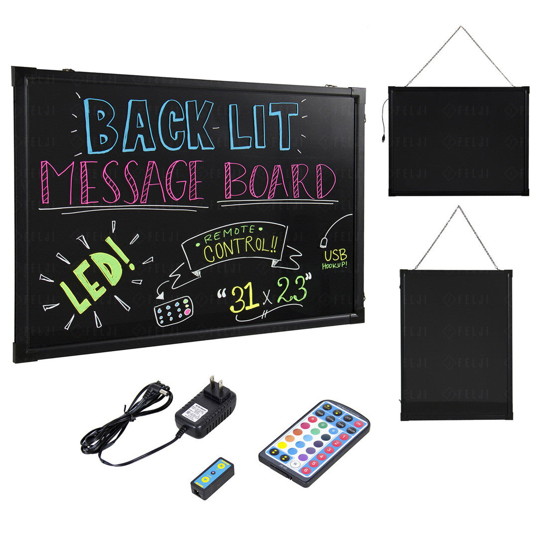 Felji 31x23 inch Flashing Illuminated Erasable Neon LED Message Board