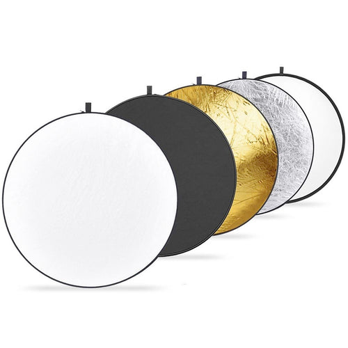 Felji 43-inch 110cm 5-in-1 Collapsible Multi-Disc Light Reflector with Bag Silver  Gold  White & Black