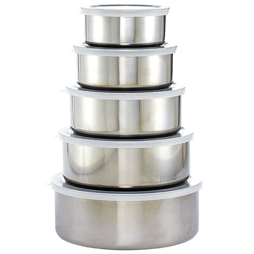 Felji 5-Piece Stainless Steel  Mixing Bowl Set with Plastic Lids