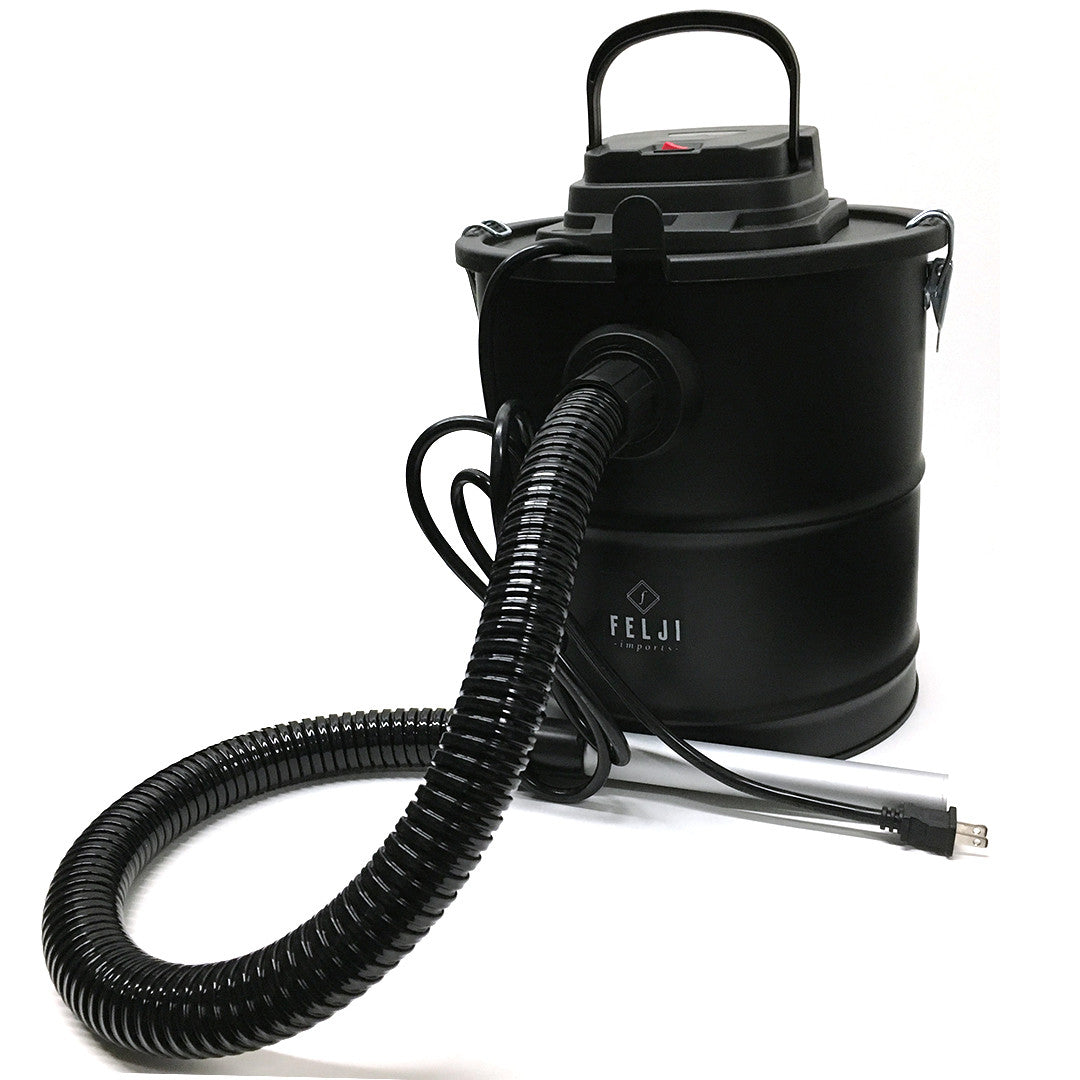 The Felji Ash Vacuum Cleaner was designed to handle the toughest of fireplace fire pit and pellet stoves. The Felji Ash Vacuum Cleaner makes messy work easy and safe. Not only is the motor protected with a HEPA and filter cover but there is additional fire and heat protection for safety. A tough aluminum poly coated hose along with a steel container and a fire resistant filter cover keeps things under control. Strong reliable construction makes it the perfect option for any vacuum destroying mess such as sheet rock dust cat litter moist potting soil and even menacing glass shards. The Felji Ash Vacuum Cleaner is covered by a 3-year manufacturer