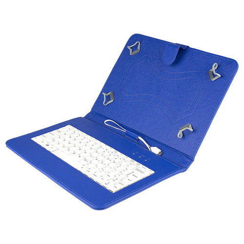 Felji Blue Stand Leather Case Cover for Android Tablet 10 Universal w/ USB Keyboard