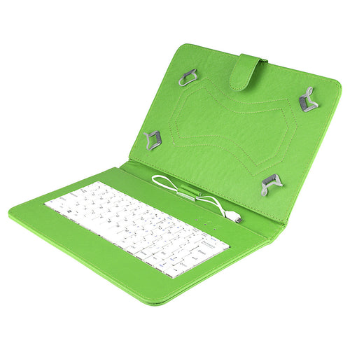 Felji Green Stand Leather Case Cover for Android Tablet 10 Universal w/ USB Keyboard