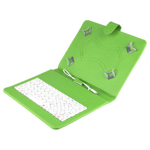 Felji Green Stand Leather Case Cover for Android Tablet 8 Universal w/ USB Keyboard""