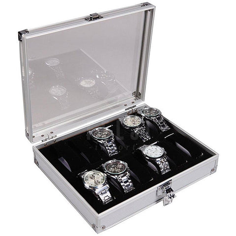Felji 6-Slot Mens Watch Box Leather Display Case Organizer Black