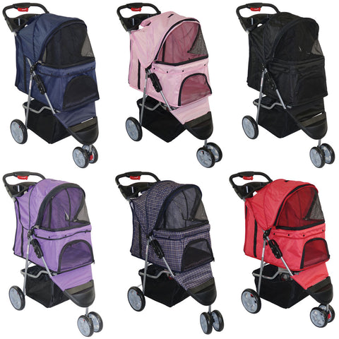 Felji Pet Stroller Cat Dog 3 Wheel Easy Walk Jogger Travel Folding Carrier