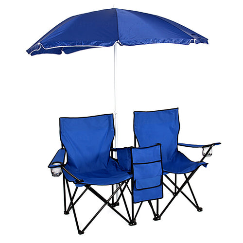 Felji Picnic Double Folding Chair with Umbrella and Cooler