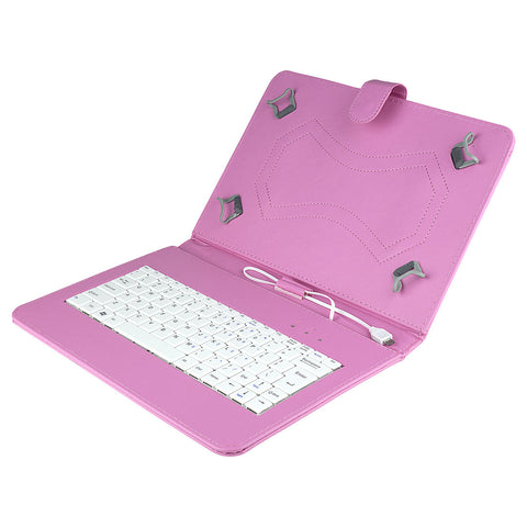 Felji Pink Stand Leather Case Cover for Android Tablet 10 Universal w/ USB Keyboard""