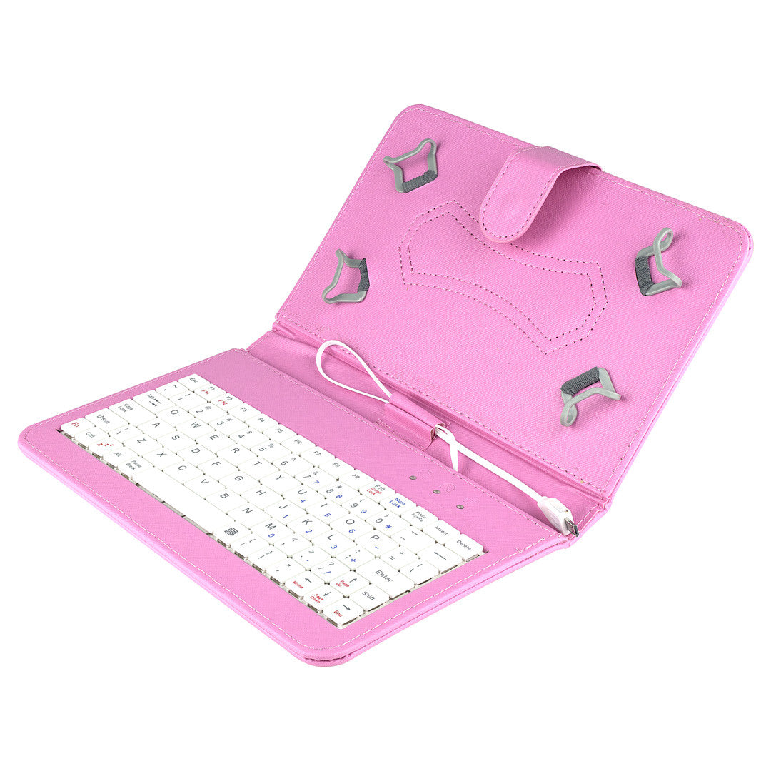 Felji Pink Stand Leather Case Cover for Android Tablet 7 Universal w/ USB Keyboard