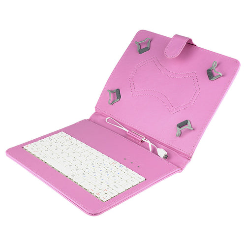 Felji Pink Stand Leather Case Cover for Android Tablet 8-inch Universal with USB Keyboard