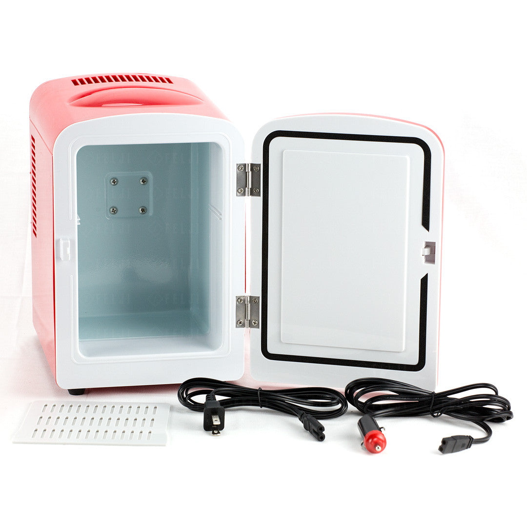 Felji Portable Mini Fridge Cooler And Warmer 4L AC U0026 DC Red