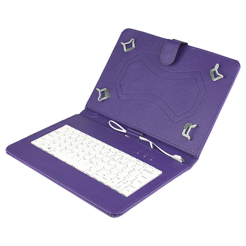 Felji Purple Stand Leather Case Cover for Android Tablet 10 Universal w/ USB Keyboard