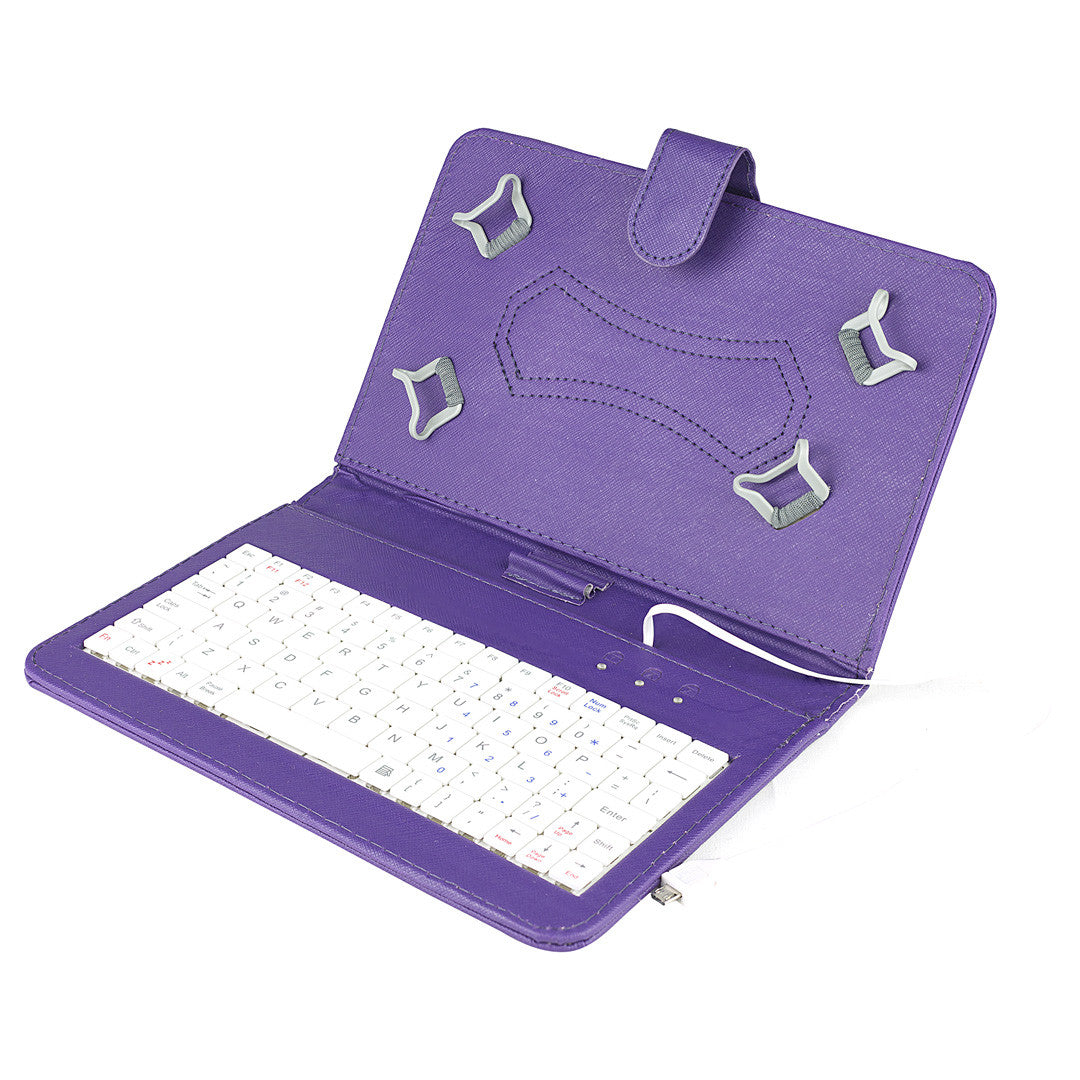 Felji Purple Stand Leather Case Cover for Android Tablet 7-Inch Universal w/ USB Keyboard