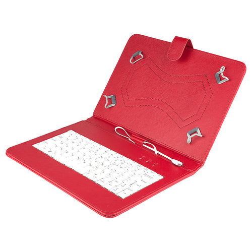 Felji Red Stand Leather Case Cover for Android Tablet 10 Universal w/ USB Keyboard