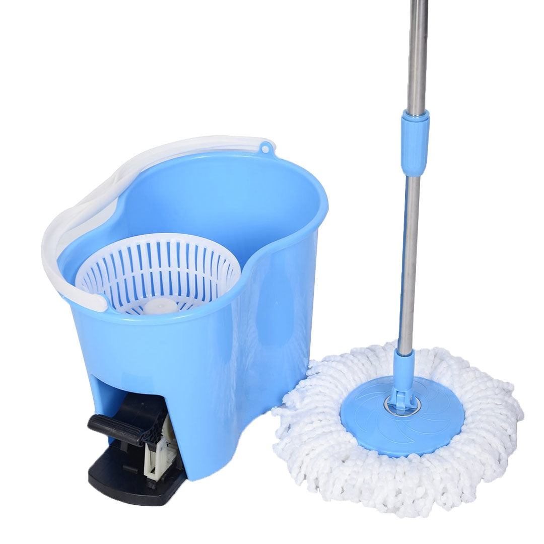 Felji Microfiber Spin Mop Easy Floor Mop with Bucket and 6 Mop Heads - 360 Rotating Head, Blue