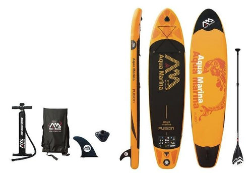 Aqua Marina Fusion BT-19FUP Kit includes Pump, Carry bag, Fin, leash, paddle and Paddleboard