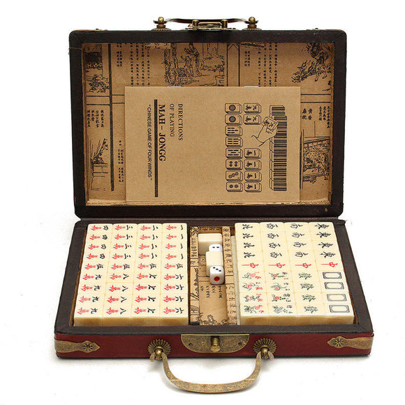 Mahjong Set with bamboo travel case