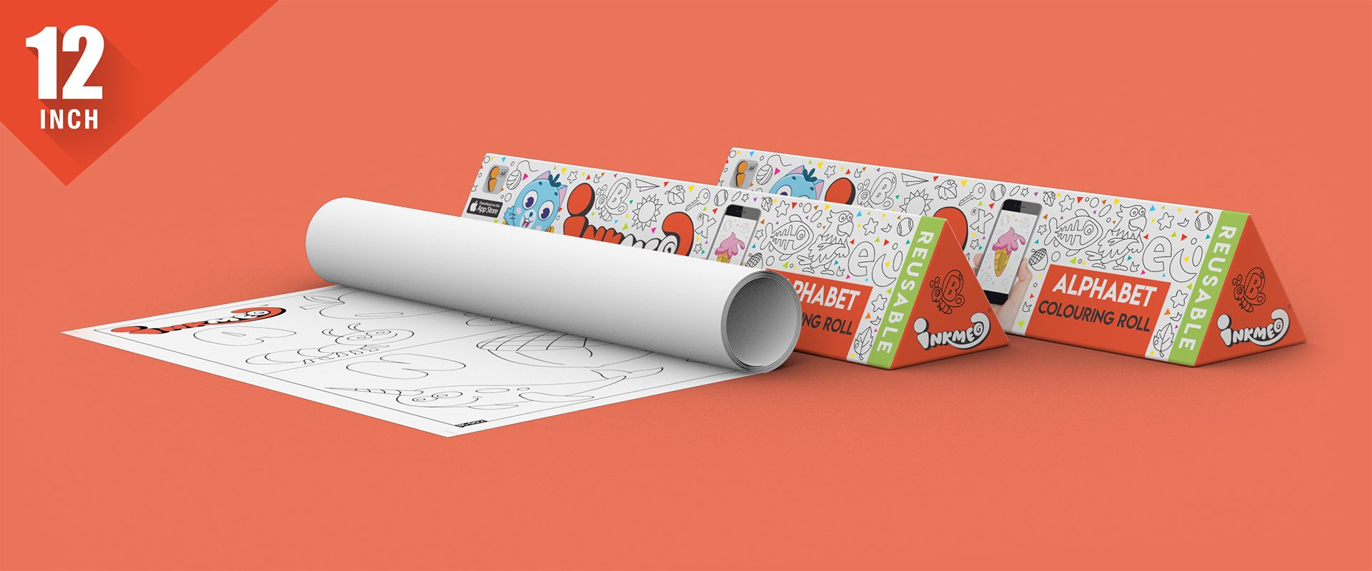 Alphabet Colouring Roll (12 inch) - Inkmeo