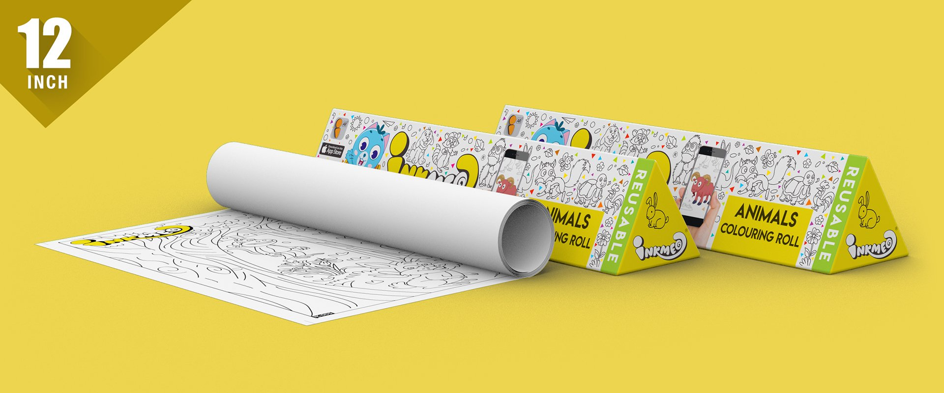 Animals Colouring Roll (12 inch) - Inkmeo