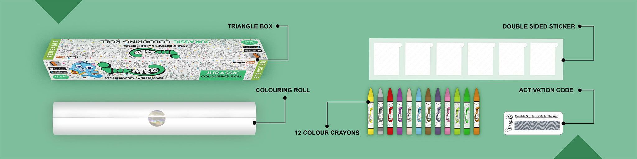 Jurassic Colouring Roll (12 inch) - Inkmeo