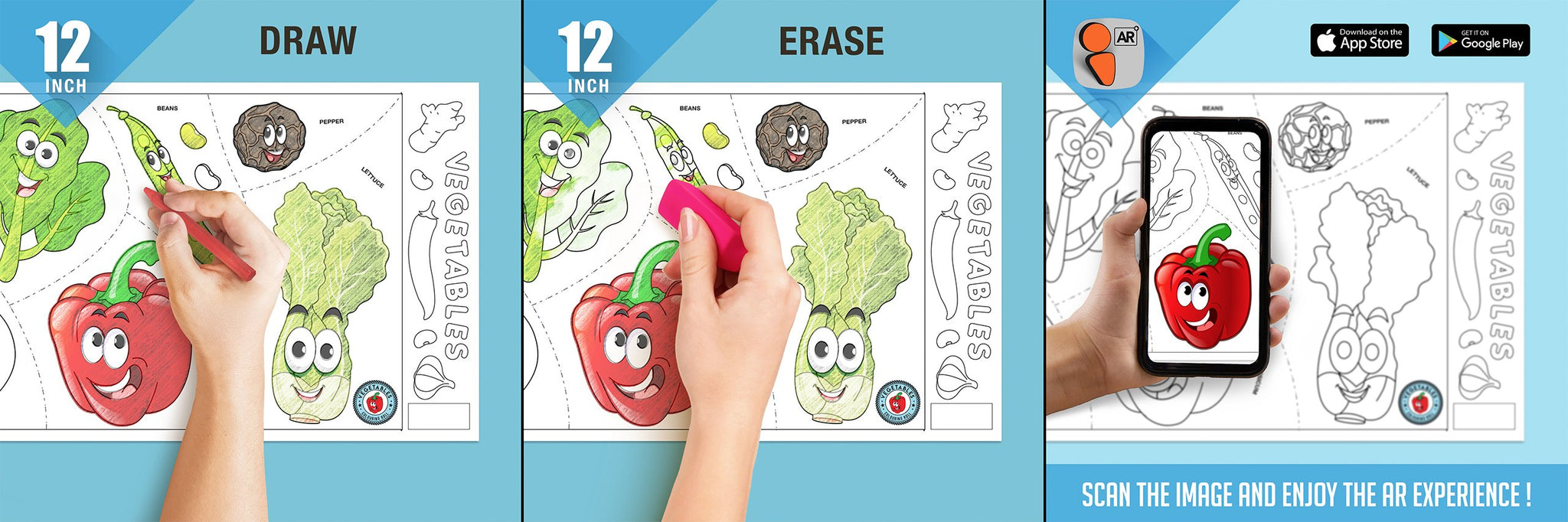 Vegetables Colouring Roll (12 inch) - Inkmeo