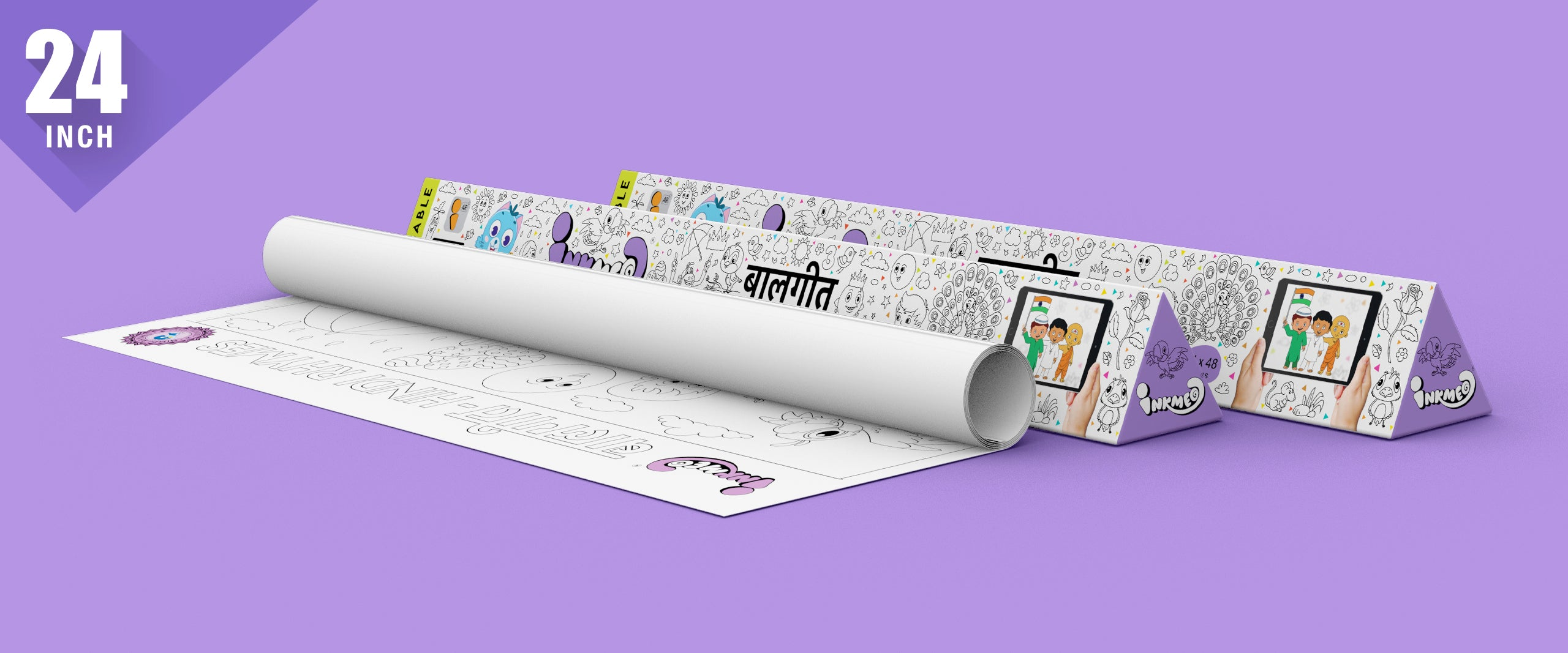 Hindi Rhymes Colouring Roll ( 24 inch) - Inkmeo