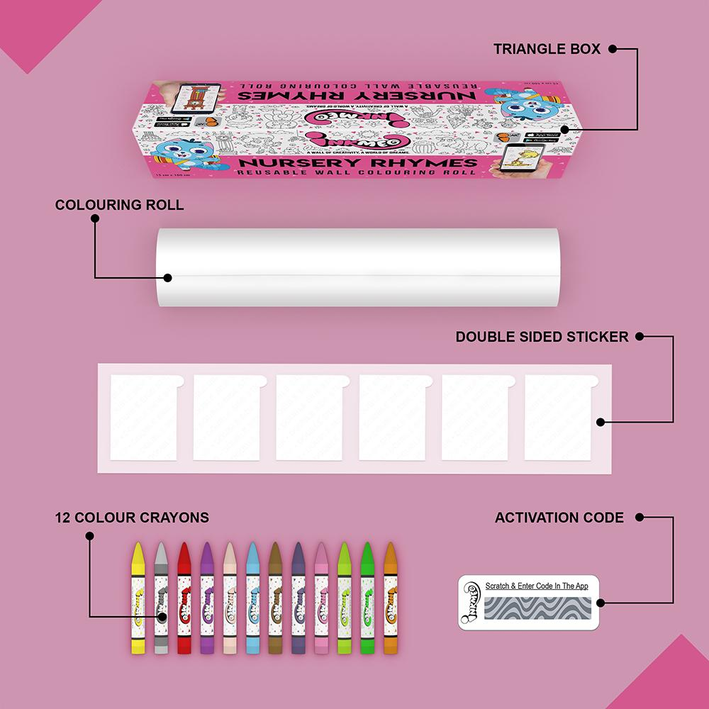 Nursery Rhymes Colouring Roll (6 inch) - Inkmeo