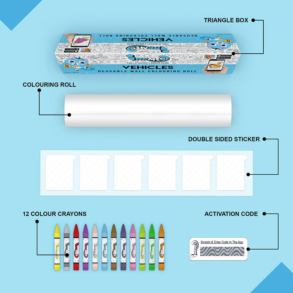 Vehicles Colouring Roll (6 inch) - Inkmeo