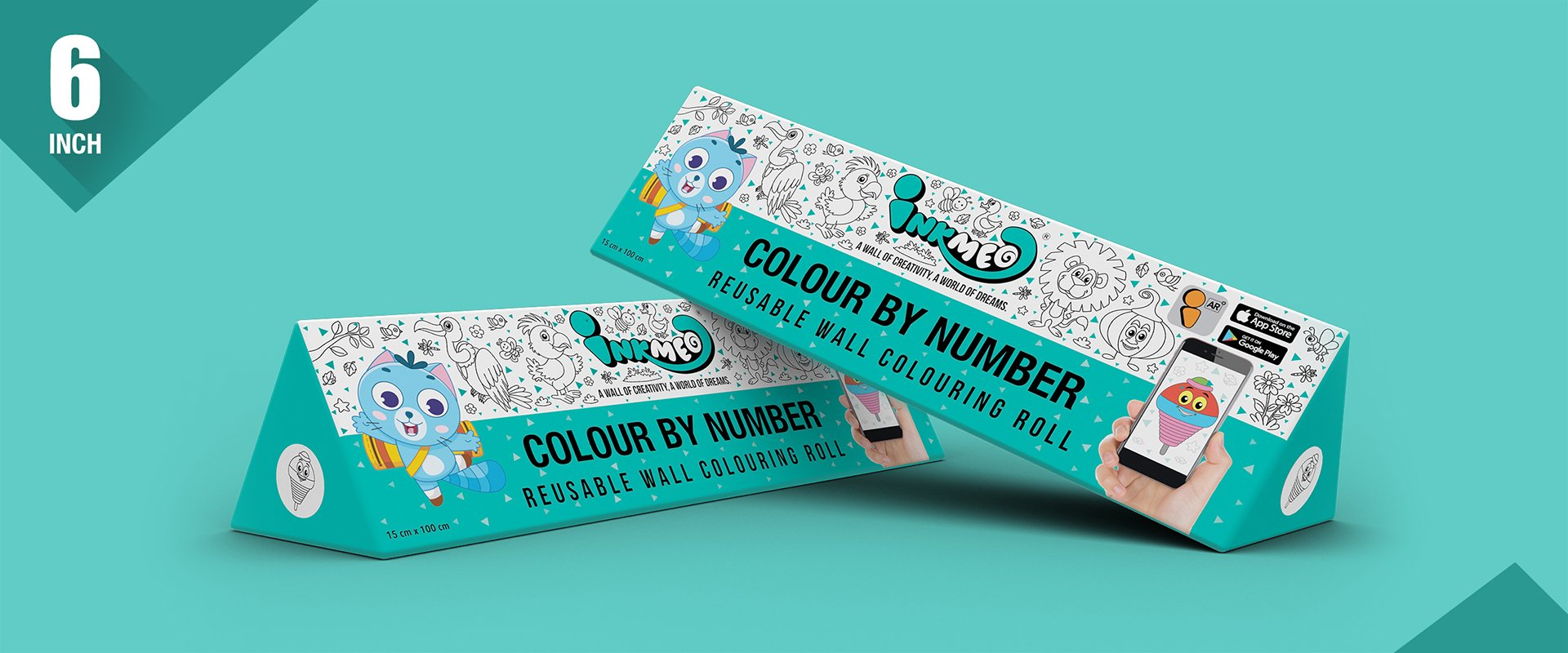 Colour by Number Colouring Roll (6 inch) - Inkmeo