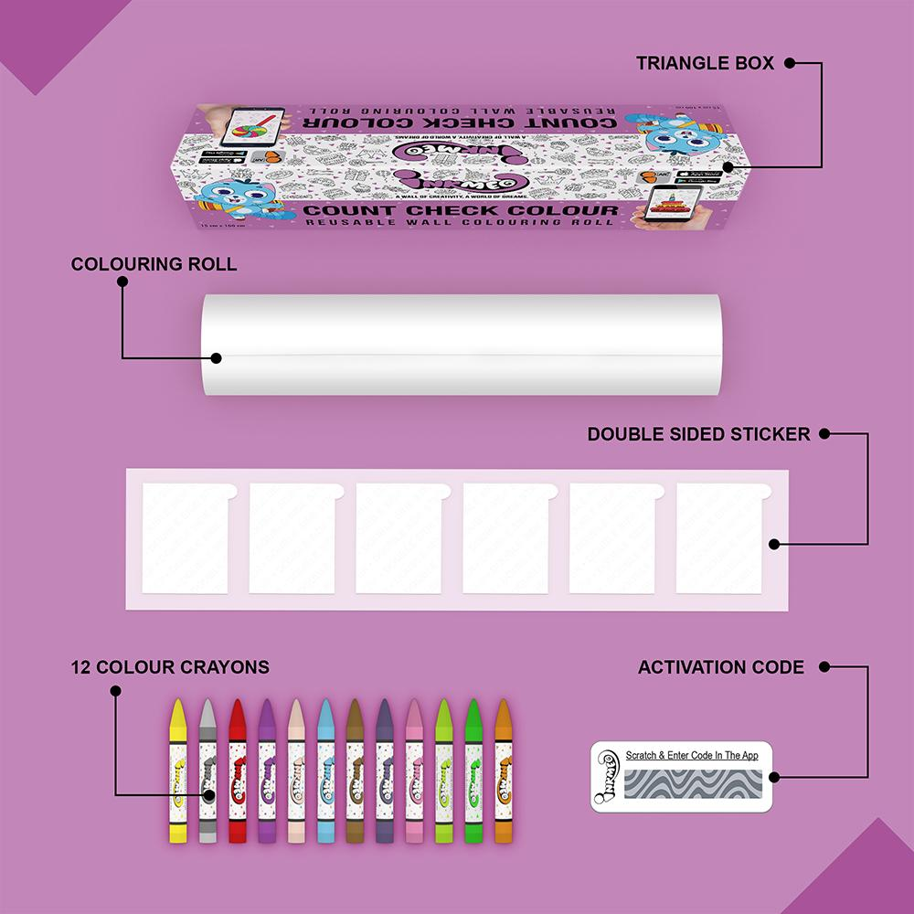 Count Check Colour Colouring Roll (6 inch) - Inkmeo