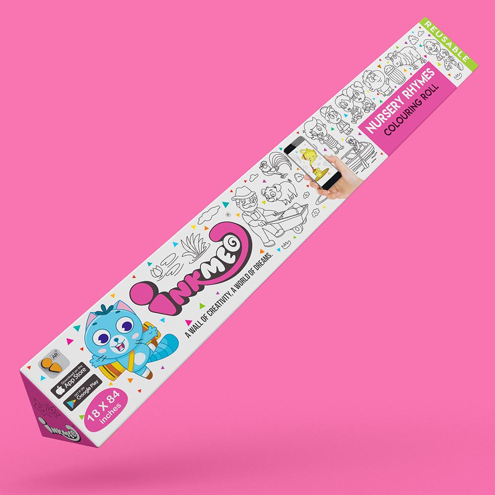 Nursery Rhymes Reusable Colouring Roll (18 inch) - Inkmeo