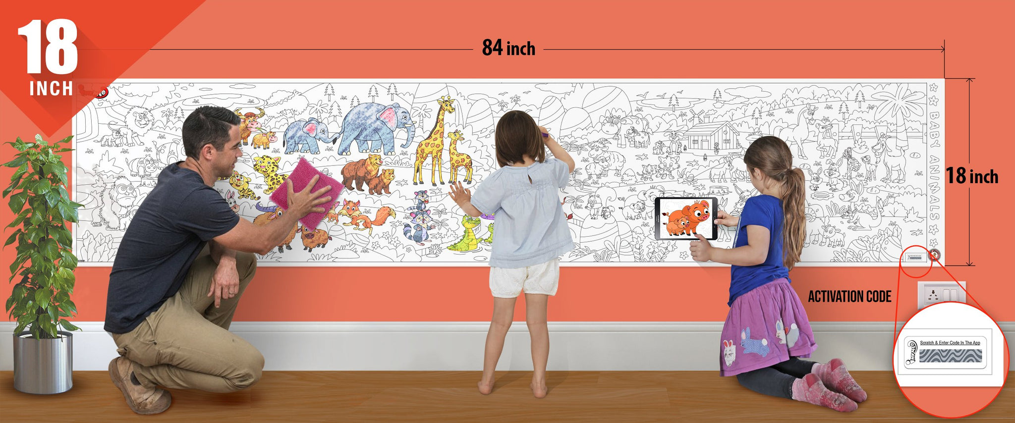 Baby Animals Colouring Roll (18 inch) - Inkmeo