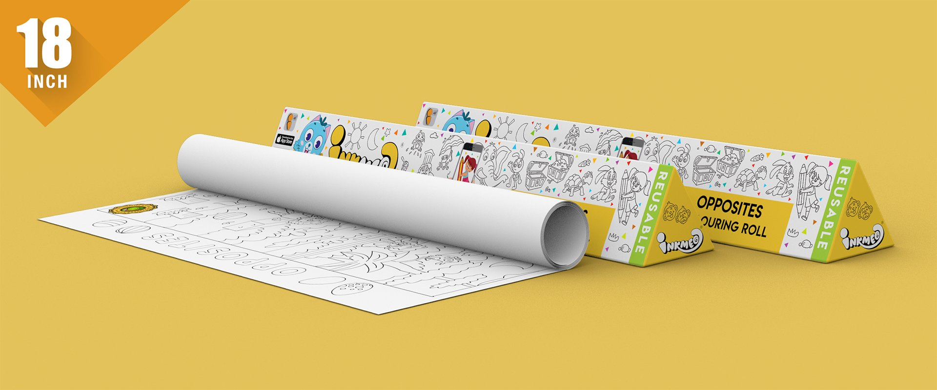 Opposites Reusable Colouring Roll (18 inch) - Inkmeo