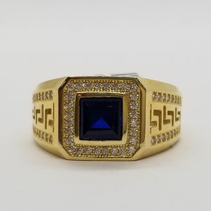 10K Yellow Gold Ring with Blue Center Stone