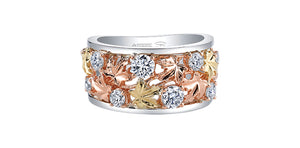 14K Tri-Colored Gold Diamond Ring with Maple Leaf Design