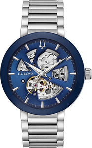 Bulova Stainless Steel Exposed Mechanism with Navy Dial