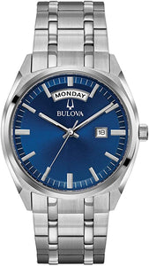 Bulova Silver Tone Watch with Blue Dial