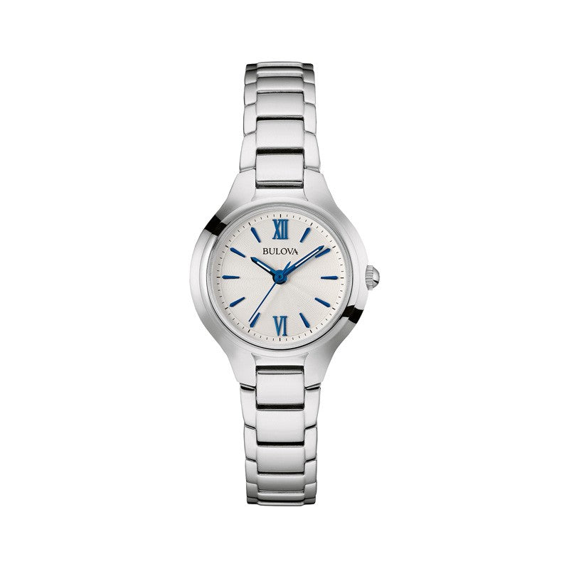 Bulova Silver Tone Watch with Blue Accents