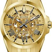Bulova Gold Tone Exposed Mechanism Automatic Watch